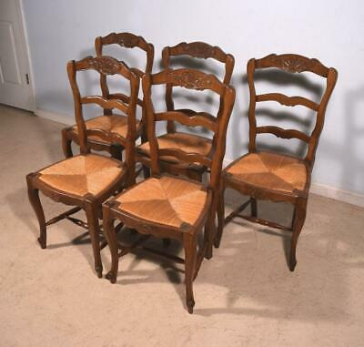Set of 5 Antique French Provincial Louis  XV Style Chairs w/ Rush Seats