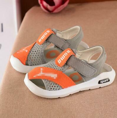 Baby Kids Boys Girls Closed Toe Sports Sandals Casual Mesh Sneakers Beach Shoes
