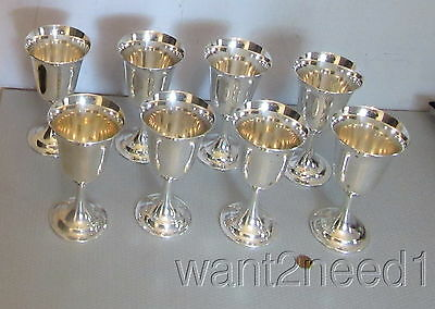 vtg International Sterling LORD SAYBROOK SET 8 GOBLETS PARFAIT #P664 no mono 7""