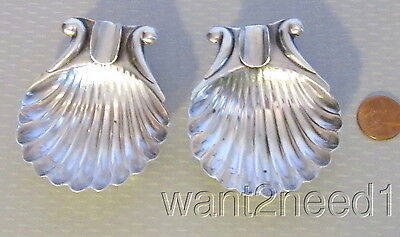 pair 50s vtg MEXICO STERLING SILVER SHELL ASHTRAYS sculpted 2 individual 42g