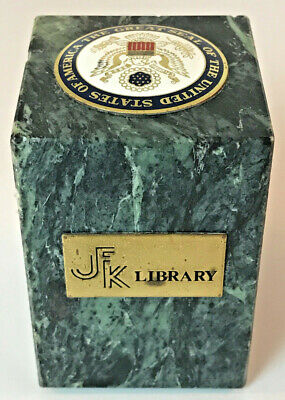 Great Seal Of The United States JFK Library Green Marble Paperweight