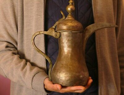 Big Rare Antique Stamped Year 1920 Islamic Bedouin Coffee Pot Copper Dallah