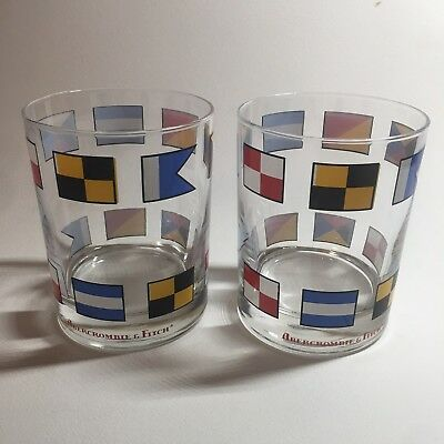 2 (Two) Vintage Abercrombie & Fitch Nautical Flag Double Old Fashion Glasses