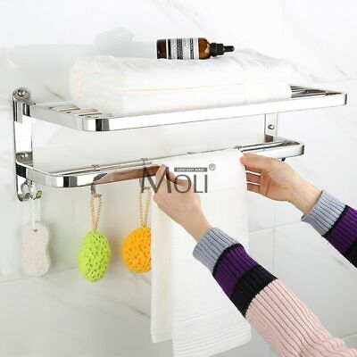 Bathroom Shelves With Towel Bar wall mounted Standing Brushed Nickel With Hooks