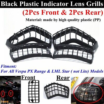 Black Turn Signal Light Indicator Protection Grills Cover For All Vespa PX Range