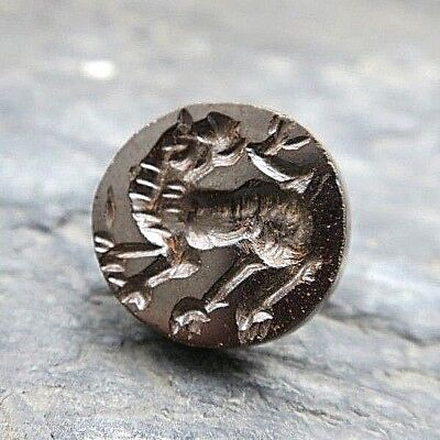 OLD Rare Greek Roman Intaglio Fire-Breathing Dragon Garnet Seal Stamp Round Bead