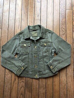 US Next Direct Girls Olive Green Denim Cropped Fitted Jacket Size 9 Years