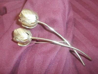X-Large Vintage Double Tulip Flower Pin By Giovanni