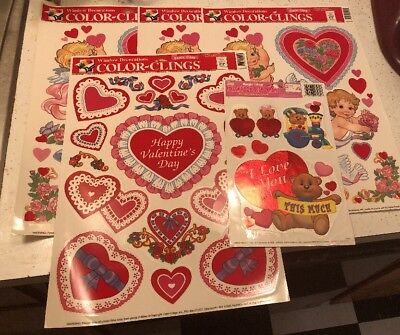 Vintage Lot Of Valentine's Day Window Clings