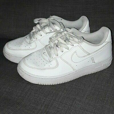 a532d342 NIKE AIR FORCE 1 PS Leather Kids Trainers in Black 314193 009 ...