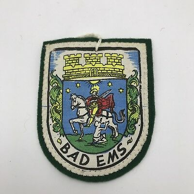 Germany Bad Ems Vintage Travel Patch Souvenir Rhineland 1970 Green Felt
