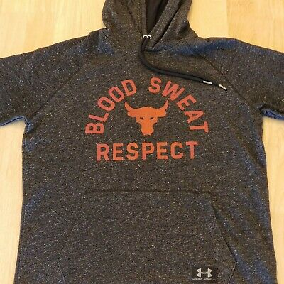 e485f76605522 UA x Project Rock Hoodie Under Armour Respect Grey Red Men s Short Sleeve  Med