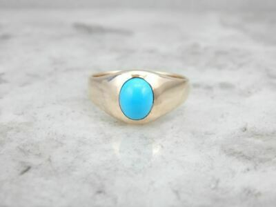 Simple and Polished Turquoise and Gold Men's Ring