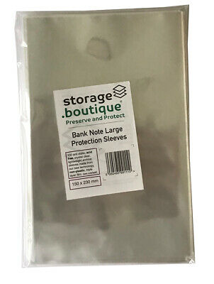 storage.boutique Old Bank Note Protection Sleeves Large Acid Free, 100,150x230mm