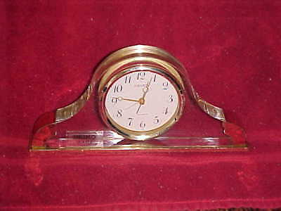 Seiko Quartz  Lucite Brass Mantle Clock W/ALARM MODEL QEJ190G-H