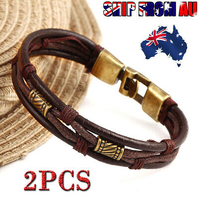 Mens Surfer Leather Bracelet Wristband Braided Rope Bronze Buckle Wrap Brown