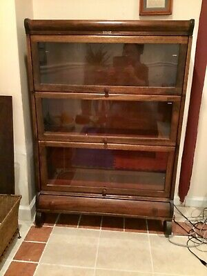 Antique Lundstrom Oak Barrister 3 Section Bookcase W Bottom Drawer Vg Condition