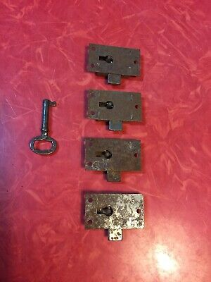 Vintage-Four Cabinet Drawer Working Locks with Key - Antique Hardware NOS