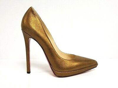 c7153dcffe5 CHRISTIAN LOUBOUTIN SO Kate 120mm Gold Leather Pump 37.5 (7.5,8 ...
