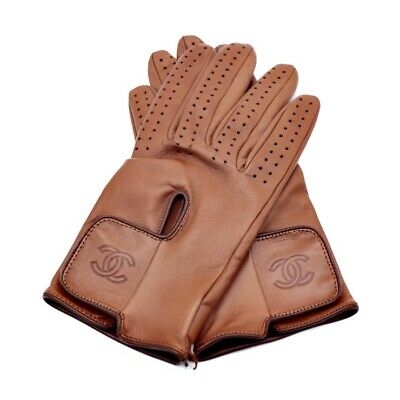 CHANEL gloves  Sheep leather Brown Size7