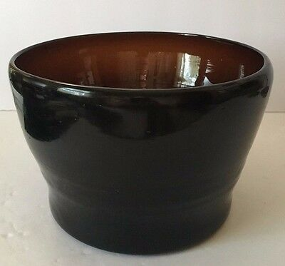Mid Century Handcrafted Brown Amber Mexican Glass Bowl/Ice Bucket