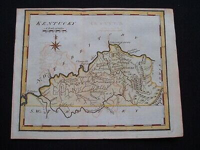 1795 Scott Map Colonial State of Kentucky - One of earliest state maps made