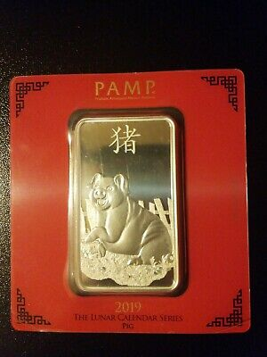 100 gram Silver Bar - PAMP Suisse - Lunar Year of the Pig - .999 Fine in Assay