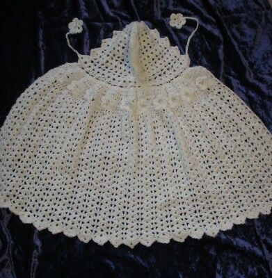 Beautiful Hand Crocheted Baby Christening Cape 3 mths White/flowers