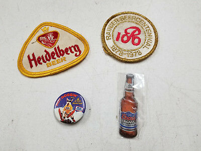 Vintage Lot of Sew-on Patches, Magnet & Pin-Heidelberg, Coors Light, Bud Light