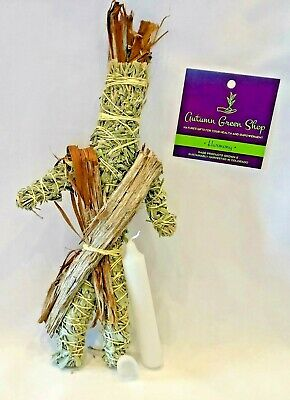 Sage Smudge Stick Doll Kit- Sage Doll, Crystal, White Candle for Good Luck &...