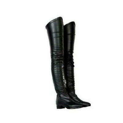 Womens Sexy Leather Slim Over Knee Boots Block Low Heels Pointed Toe Shoes 01