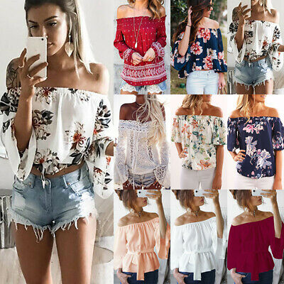 Women Floral Holiday Off Shoulder Tops Ladies Summer Casual Loose T Shirt Blouse
