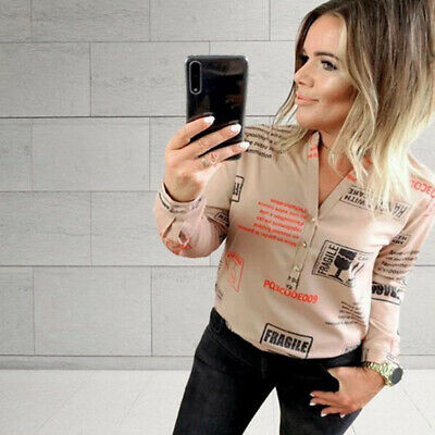 Loose T-Shirt Tank Tops Women Spring Letter Printed V Neck Long Sleeve Blouse N7