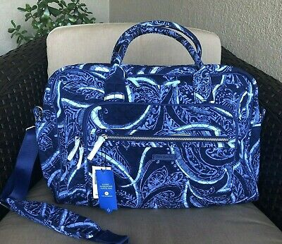 dee997e3d NWT Vera Bradley Iconic Weekender Travel Bag Carry-on in Indio blue print  $118