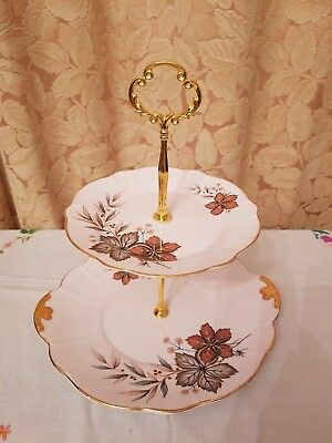 Vintage pretty Windsor Pink bone china autumn leaves two tier cake stand