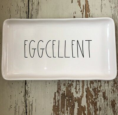 "Rae Dunn 2018 Small Easter Tray ""EGGCELLENT"" New! HTF! *LOW Shipping! 🐣🥚"