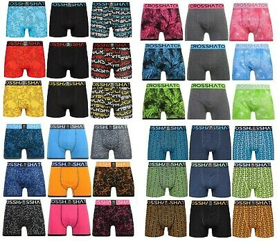 Mens 3 Pack Crosshatch Boxer Shorts Underwear Trunks Multipack Designer Boxers
