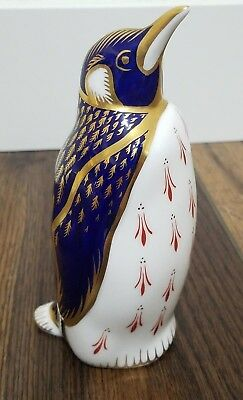 ROYAL CROWN DERBY IMARI PENGUIN PAPERWEIGHT- GOLD BLUE Figurine Weight w/ PLUG