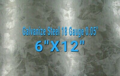 "Galvanized Steel Sheet 18 Gauge 0.052"" inch/1.32 mm 6"" x 12"" inch"
