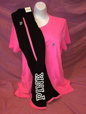 Victoria Secret PINK 7//8 Ankle Yoga Leggings Bright Pink Campus Tee Set L XL New