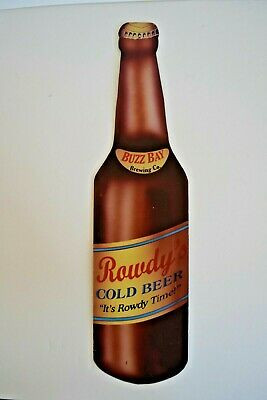 """Rowdy's Cold Beer """" It's Rowdy Time! """" Buzz Bay Brewing Co. Metal Beer Bar Sign"""