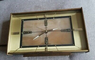 Vintage Metamec Mantel Clock Electric Brass surround with marble inside- working