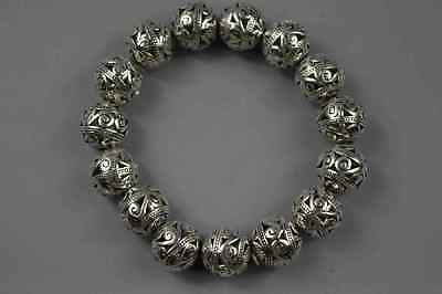 Ancient Collectable Miao Silver Carve Exorcism Flower Bead King Usable Bracelet