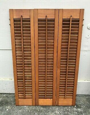 "36"" Tall X 24"" W VTG Colonial Wood Interior Louver Plantation Window Shutters"