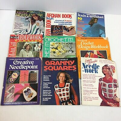 Vintage Lot Of Magazines Crochet Needle Work Craft Afghans McCall's Mon Tricot