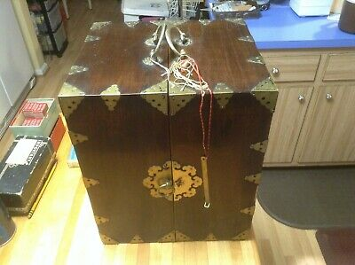Antique Chinese 24 Drawer Wood Spice Apothacary Folding Portable Cabinet Box