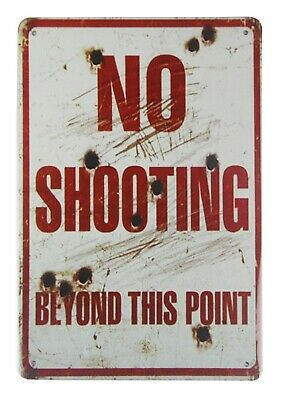 US SELLER, wall art No shooting beyond this point tin metal sign