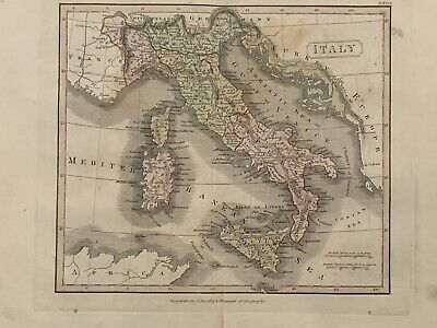 1813 Italy Original Antique Hand Coloured Map 206 Years Old By J.h Franks