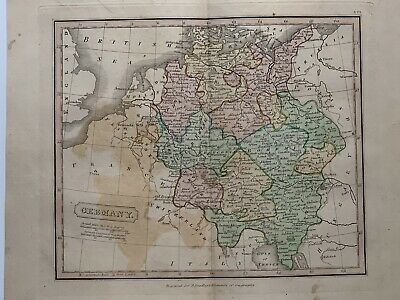 1813 Germany Original Antique Hand Coloured Map 206 Years Old By J.h Franks