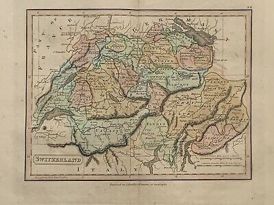 1813 Switzerland Original Antique Hand Coloured Map 206 Years Old By J.h Franks